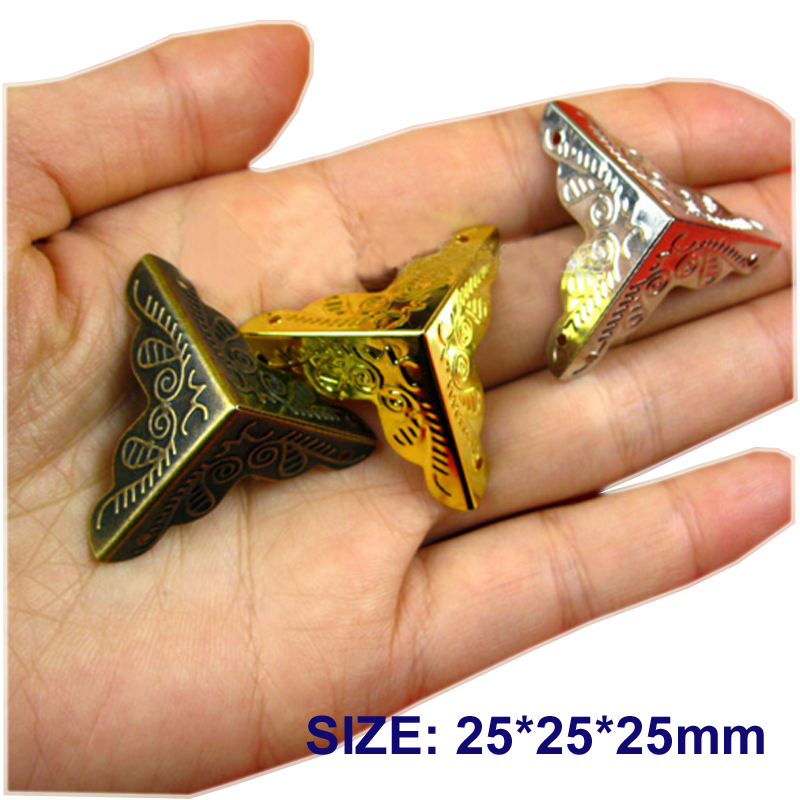 LHX AYP103 25*25mm Hardware 4pcs Antique Carved Angle Packaging Bag Crashproof Packer Corner Gift Trumpet Flower Wrap Angle