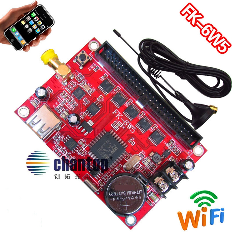 FK-6W5 wifi+USB led controller board 4096*48/768*256 pixel wireless PC/Phone APP support p10,p13.33,p16,p4.75 led control card