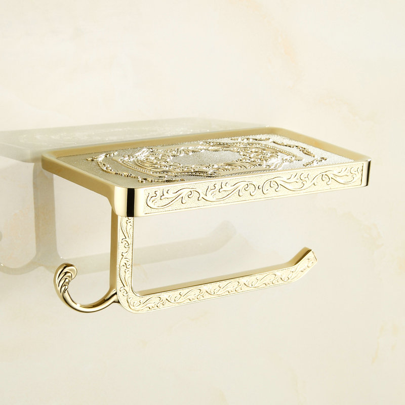Toilet Paper Holders Mobile Phone Holder With Hook Bathroom Accessories Paper Shelf  Phone Hanger Antique/Gold/Black/Chrome