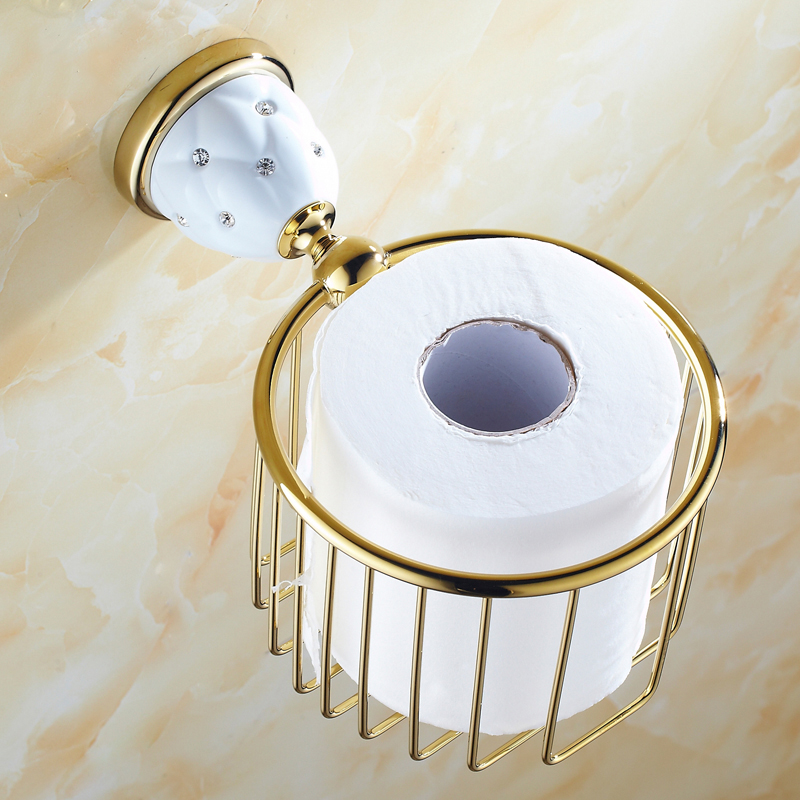 63GD Series Golden Polish Paper Holders With Diamond Wall Mounted Bathroom Accessories Paper Shelf  Bathroom Round Basket
