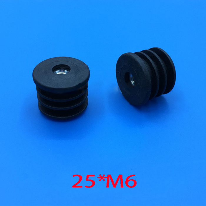 19 25 32 50 mm round feet plug M6 m8 nut pre embedded blank tube insert end Furniture Levelling Glide caster screw Feet Screw On