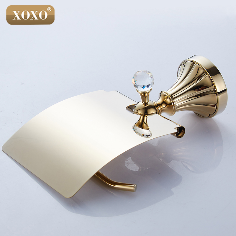 XOXO High Quality Luxury Crystal Decoration Gold Brass Toilet Paper Holders Waterproof Tissue Bathroom Accessories 16086G