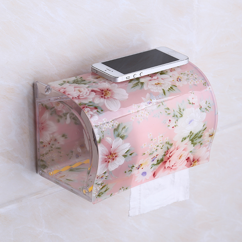 BOCHSBC Toilet Paper Holder Plastic Acrylic Waterproof Toilet Roll Holder Box Free Stiletto Creative Door Paper Towel Box