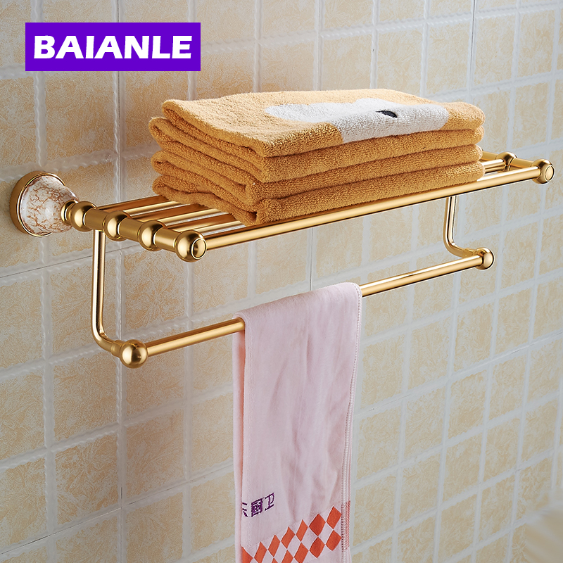 NEW Space Alumnium & Ceramics Made Wall Mounted Bathroom Accessories Double Shelf Towel Rack Holder With Towel Bar
