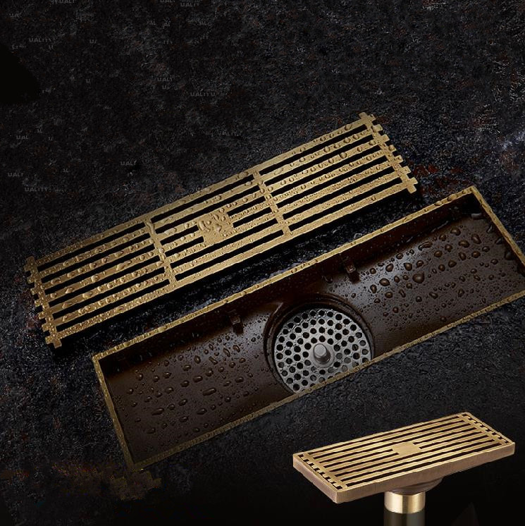 Antique Brass Square Floor Drain Bathroom Linear Shower Floor European Drain Wire Strainer Art Carved Cover Waste Drainer G50