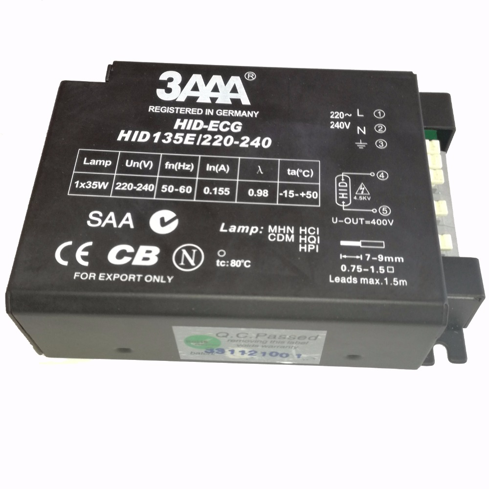 3AAA HID 135E/220-240 36W Professional ECG HID-ECG Electronic Ballast for HID Lamps HCI/CDM/HQI/HPI/MHN 35W T Fluorescent Lamp