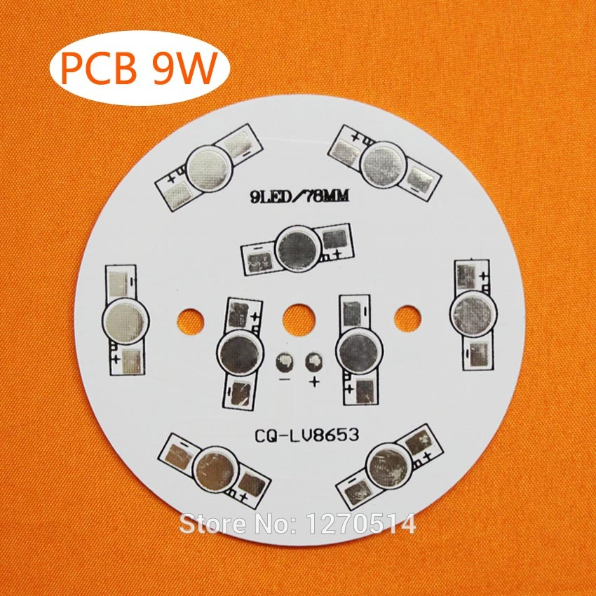 15pcs/lot, 9W LED PCB, 78mm for 9pcs LEDs, aluminum plate base, Aluminum PCB Printed Circuit Boards, high power 9W LED DIY PCB