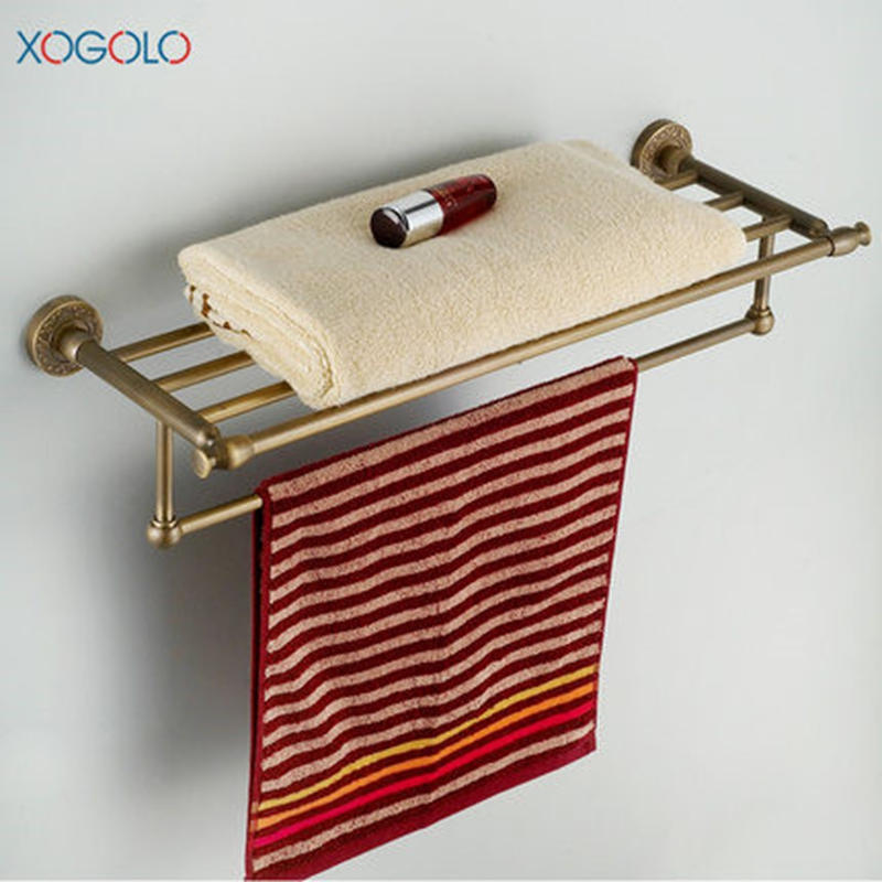 Xogolo Copper Polished Chrome Double Layer Antique Brief Wall Mounted Bathroom Towel Rack Towel Holder Accessories