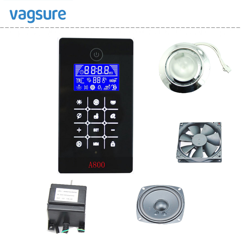 A800 black color LCD display induction style shower cabin controller with shower light/speaker/exhaust fan accessories