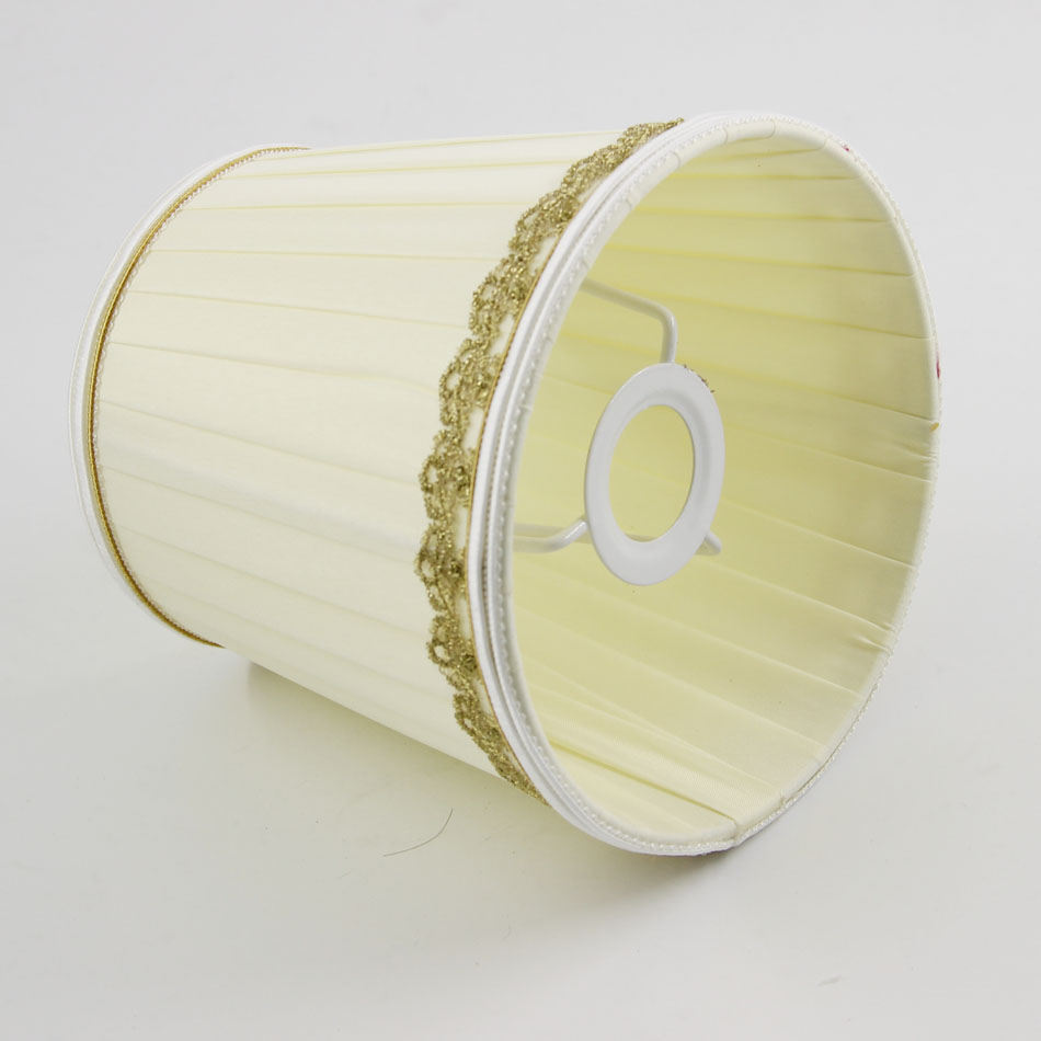 DIA 15.5cm/ 6.10 inch Bedroom Bedside Lamp With Pleated Cloth Fabric Lampshades, Luxury Wall Light Lamp Shades, E14(Hole 3cm)
