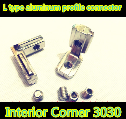 10pcs 3030 T Slot L Shape Type Aluminum Profile Accessories Interior Corner Connector Joint Bracket for 30 profile(with screws)