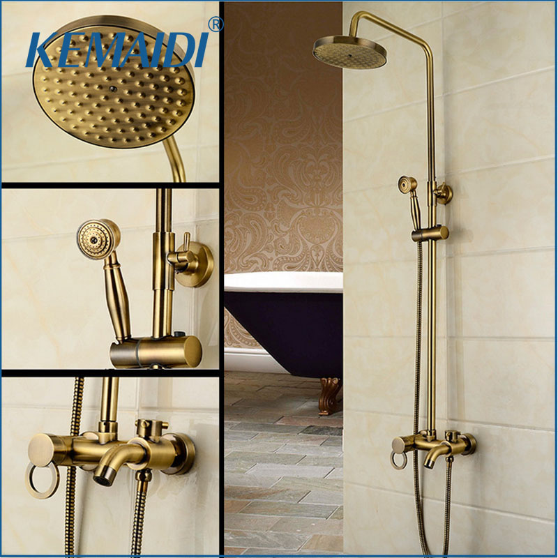 KEMAIDI New Arrival Antique Brass Shower Faucet Set 8 Inch Shower Head Hand Shower Sprayer Wall Mounted Mixer Tap