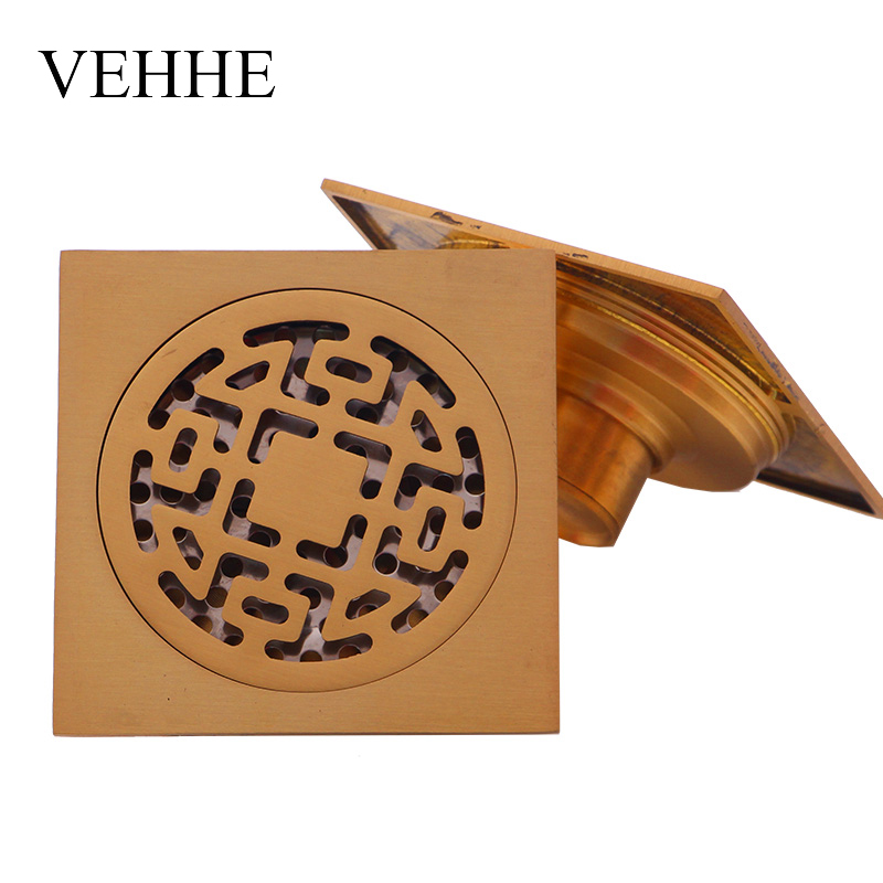 VEHHE 4 inch Brass gold bathroom Drains Deodorization modern square floor drain shower waste drainer dual-purpose drain VE042