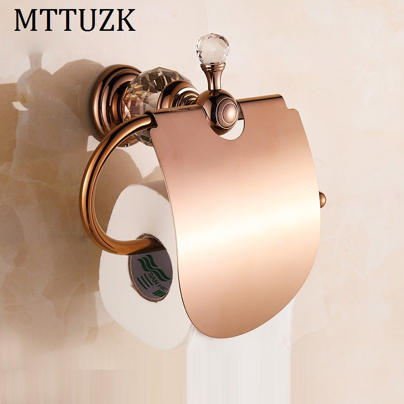 MTTUZK Luxury crystal brass gold paper box roll holder toilet gold paper holder with cover tissue box Bathroom Accessories