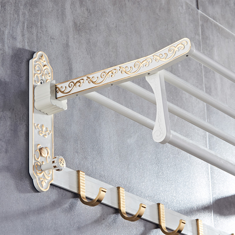 Whole aluminum fold white gold bath towel rack Active bath towel rack bathroom towel holder Antique Double towel shelf MH8503A