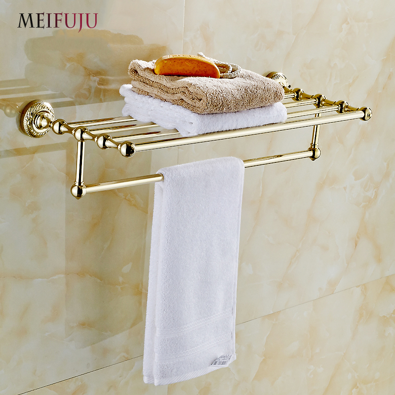 MEIFUJU High Quality Bathroom Towel Holder shelf Copper Brass Gold Plating Towel Rack towel Shelf With Bar Bathroom Accessories