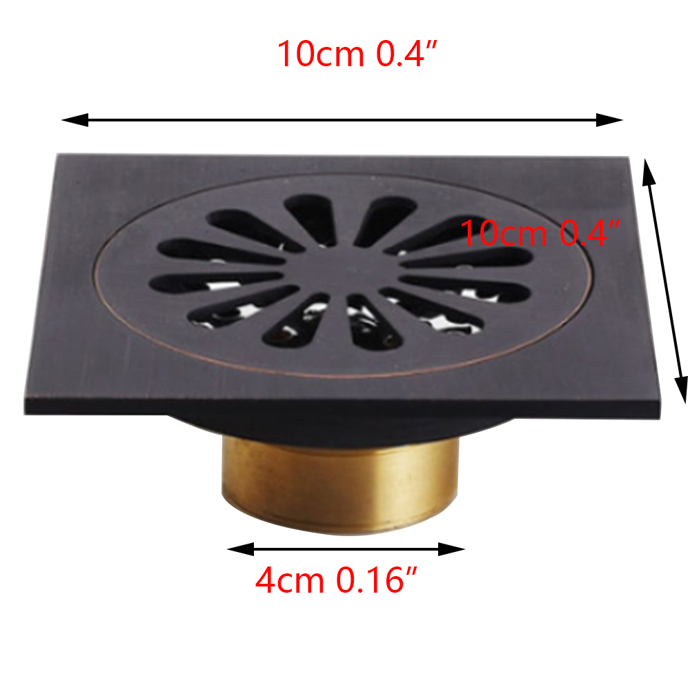 "4"" Square Shape Waste Drainer Floor Drain Oil Rubbed Black Bronze Flower 5382 Modern Exquisite Carved Floor Drain"
