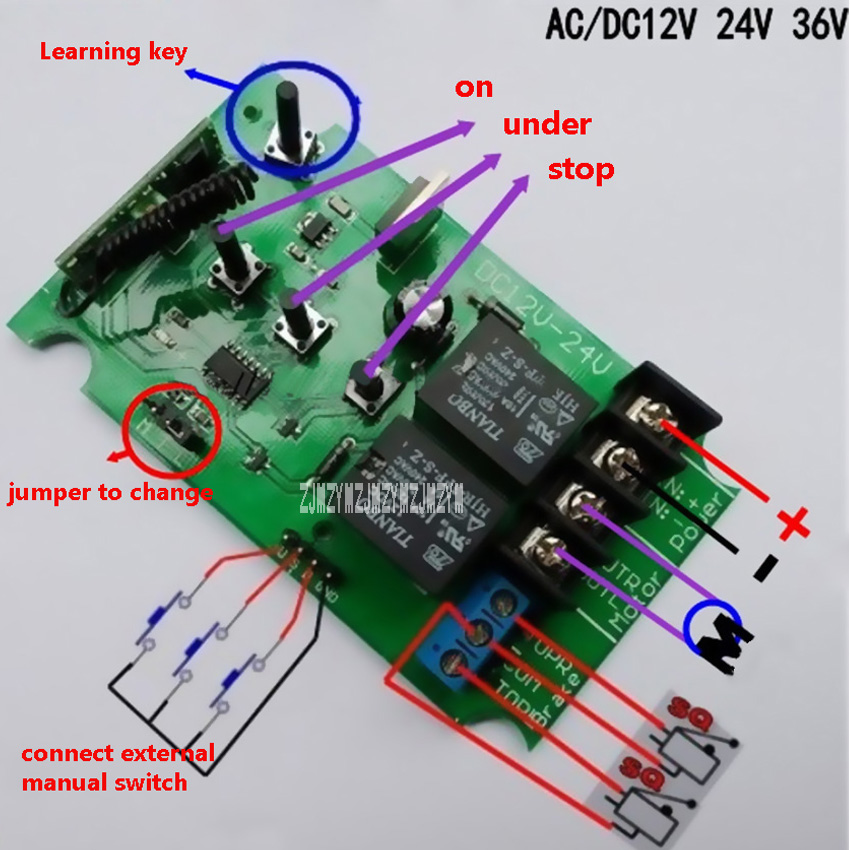 New 12v 24v 36v DC/AC Motor Controller Motor Forwards Reverse Controller Remote Control, Adjustable Load Less Than 5A 60W Motor