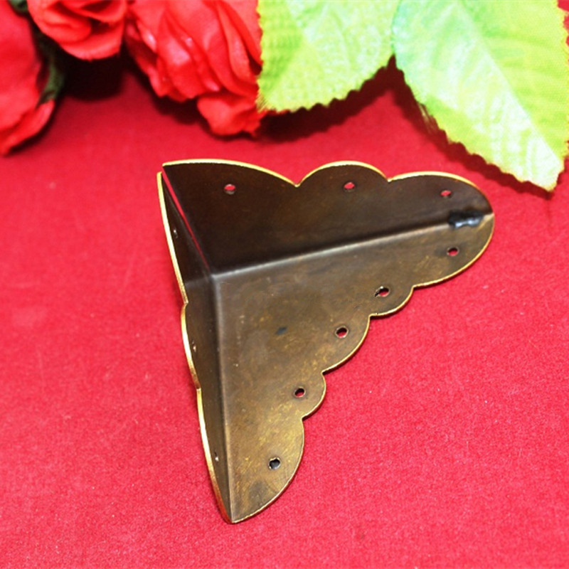 Brass Corner,Luggage Case Box Corner Brackets Decorative Corner For Furniture Decoration Triangular Corners,Brass Color 58*32mm
