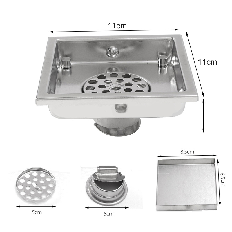 304 Stainless Steel Tile Invisible Grate Wetroom Floor Drain Square Floor Waste Grates Bathroom Shower Drainer Mayitr