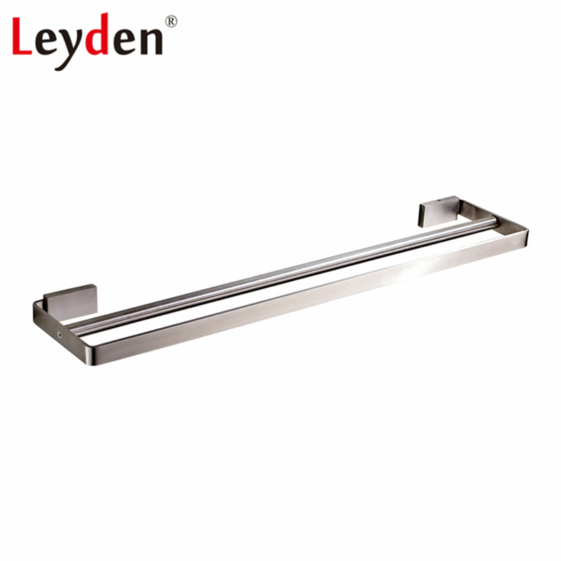 Leyden Double Square Towel Bar Holder Wall Mount Stainless Steel Lavatory Modern Brushed Nickel Towel Hanger Bathroom Accessory