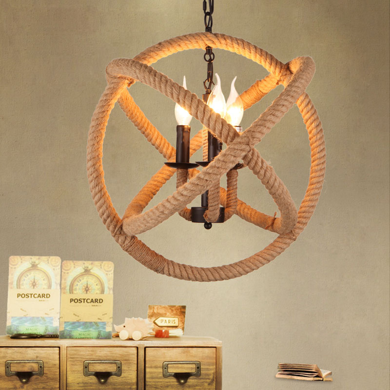 Nordic Retro Iron Round Pendant lamp Creative Hemp Rope Lamp Loft Vintage Decoration Restaurant Lamp D350/D430/D530 FreeShipping