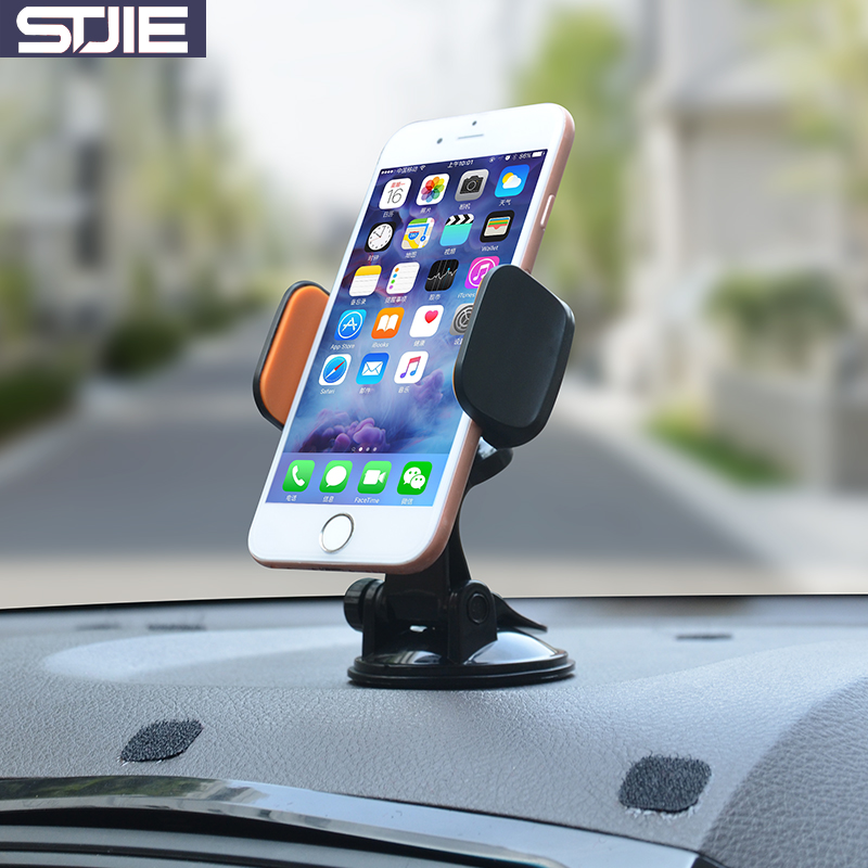 STJIE universal desk phone holder sticky 360 degree rotating car stand for phone grip cellphone