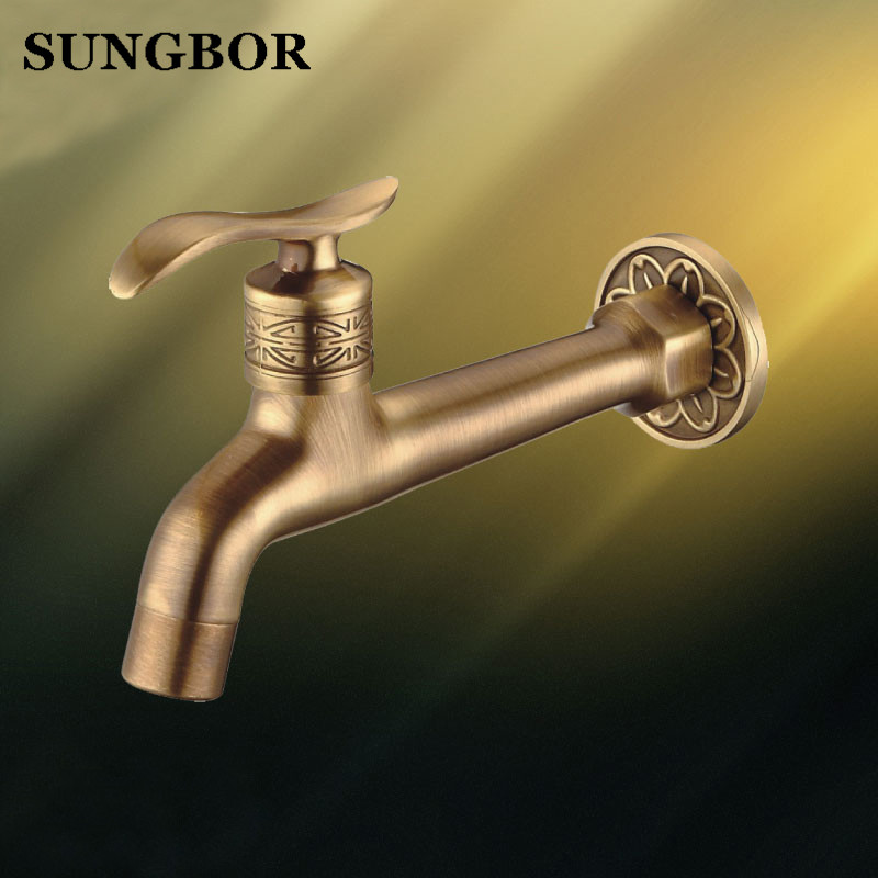 New Extra Long Antique Brass Single Handle Kitchen faucet wall mounted Laundry bathroom Mop Water Tap SZ-8665F