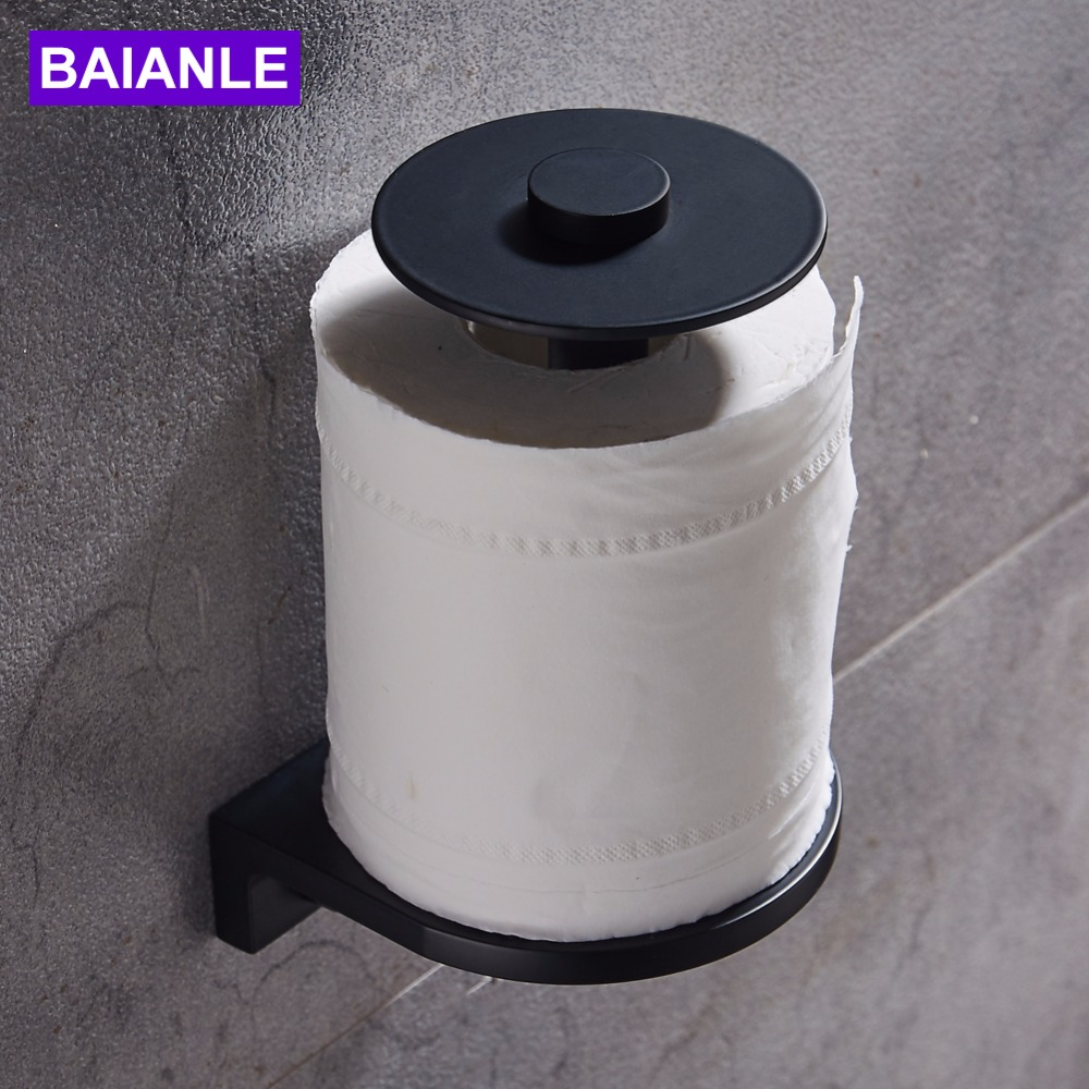 Newly High Quality Aluminum Toilet Paper Holder Wall Mounted Black Rolls paper Holder Bathroom Accessories