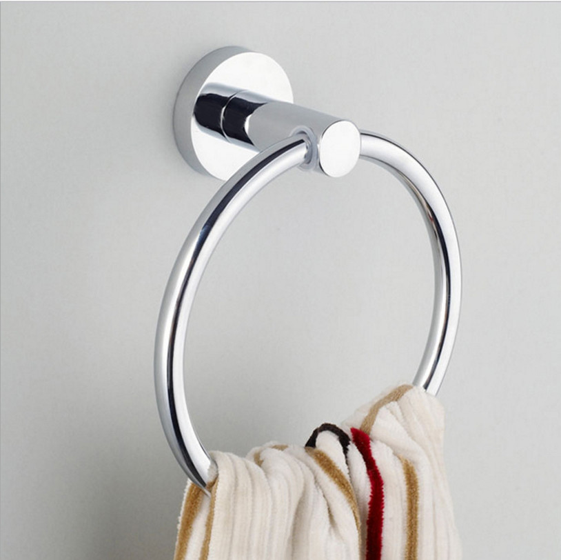 THOM KING 304 Stainless Steel Round Style Wall-Mounted Towel Ring Holder Hanger Bathroom Accessories 1pc/lot Wholesale