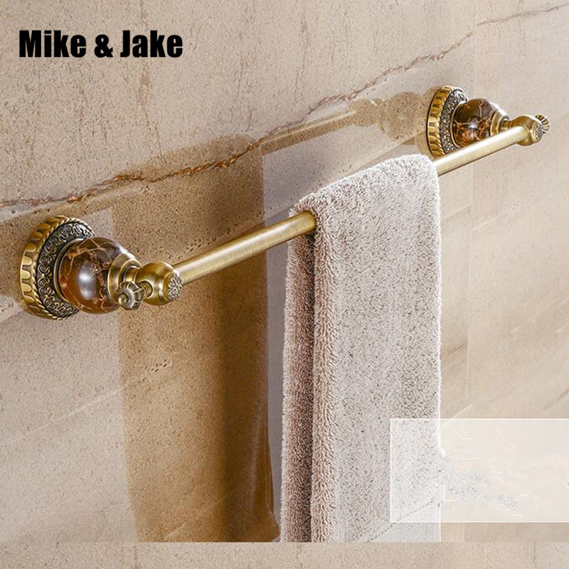Antique brass bathroom single jade towel bar shelf bathroom shelf towel holder bathroom black towel shelf accessories  8008