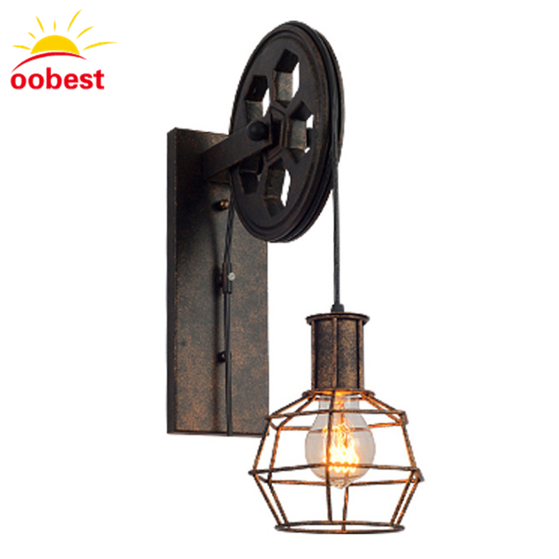Antique Cage Pulley Iron Craft Sling Rope Walkway Stairs Corridor Wall Lights Industrial Style Lamps Retro chandelier Pendant