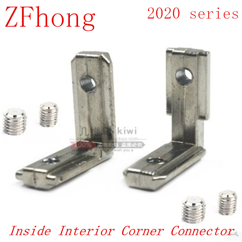 20pcs/lot 20 type L shape T Slot Inside Interior Corner Connector Joint Brackets with M5 Screws for 2020  Aluminum profile