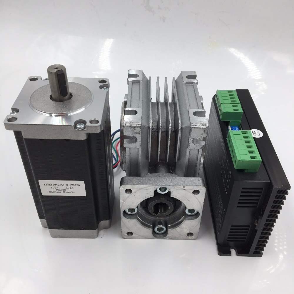 Ratio 15:1 Worm Geared Reducer NEMA23 Worm Gear Stepper Motor 1.8Nm L76mm 3A 4 Leads with Stepper Driver for CNC Router