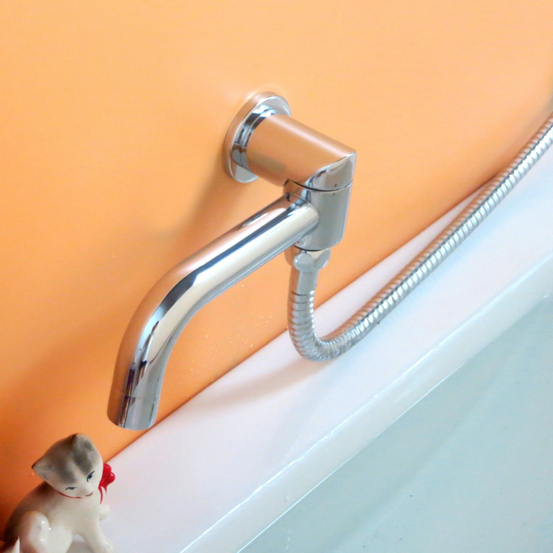 90degree rotating brass in-wall bathroom faucet spout with diverter function