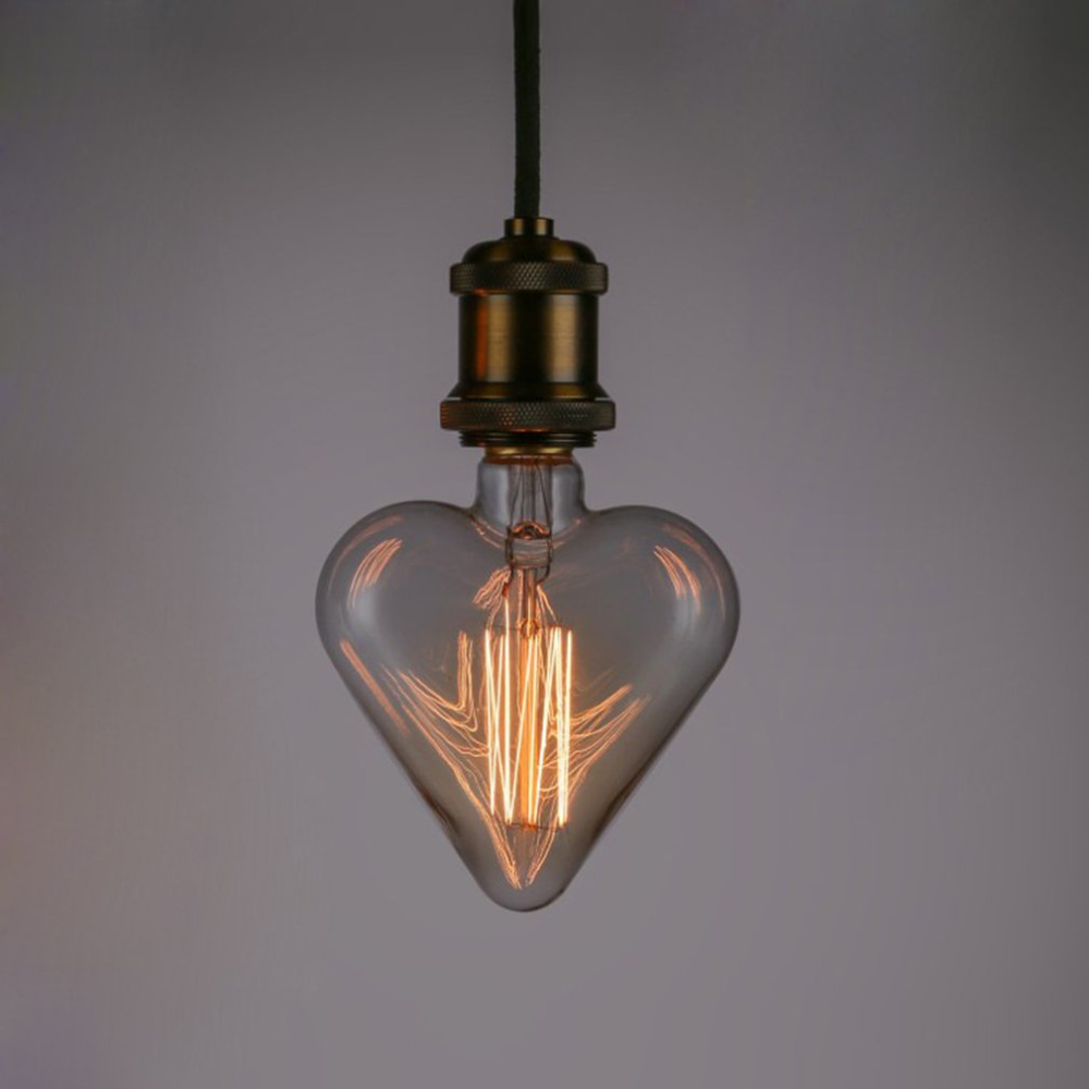 E27 Base 40W 220V Heart Shape Edison Vintage Style Tungsten Wire Light Bulbs Festival Romantic Ampoules Decorative Lights