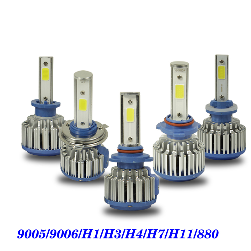 2PCS 9005 9006 H1 H3 H4 H7 H11 880 COB LED Headlight 8000lm 72w 6000K Car Front Bulb Dipped High Beam Fog Lamp Car light