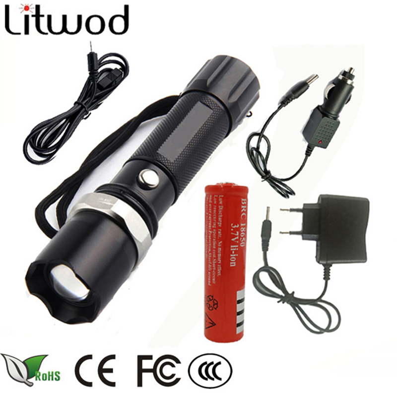 Z30110 lights & lighting portable light LED Tactical Flashlight Torch lanter search XM-L L2/T6 Zoom 5 Mode self defense LED Lamp