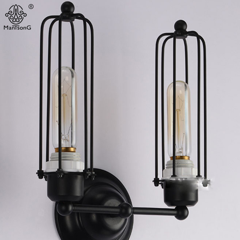 Wall Lights Industrial Vintage Decorative Lighting 2 Heads AC Iron Lamps E27 Black For Corridor Foyer Parlor Loft Home Fixture