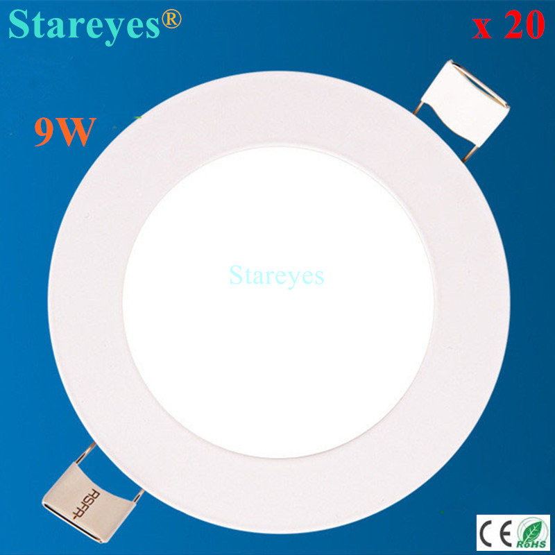 20 pcs Round led panel light 9W 810LM AC90-265V 2835SMD downlight bulb spotlight lamp droplight led ceiling light lighting