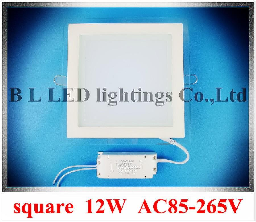 glass+aluminum square shape recessed LED panel light lamp 12W LED ceiling light  900lm AC85-265V CE&ROHS  160mm * 160mm * 35mm