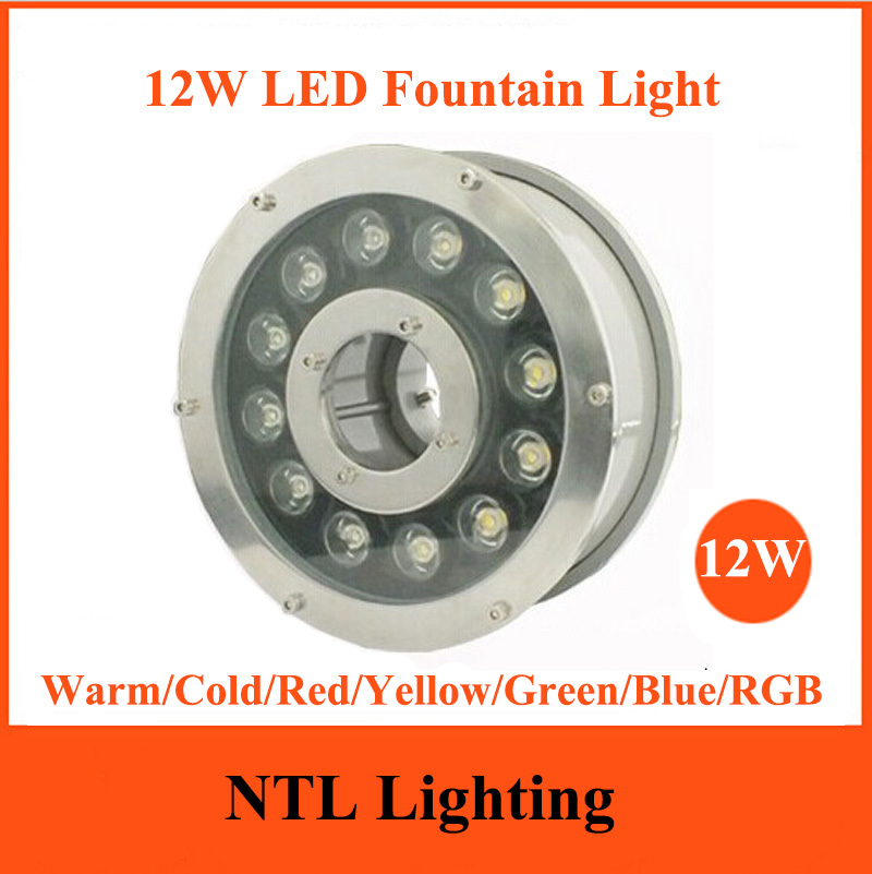New 12W LED Fountain light IP68 waterproof lamp underwater lights AC/DC 12V 24V for Swimming Pool Pond Fish Tank Aquarium Park