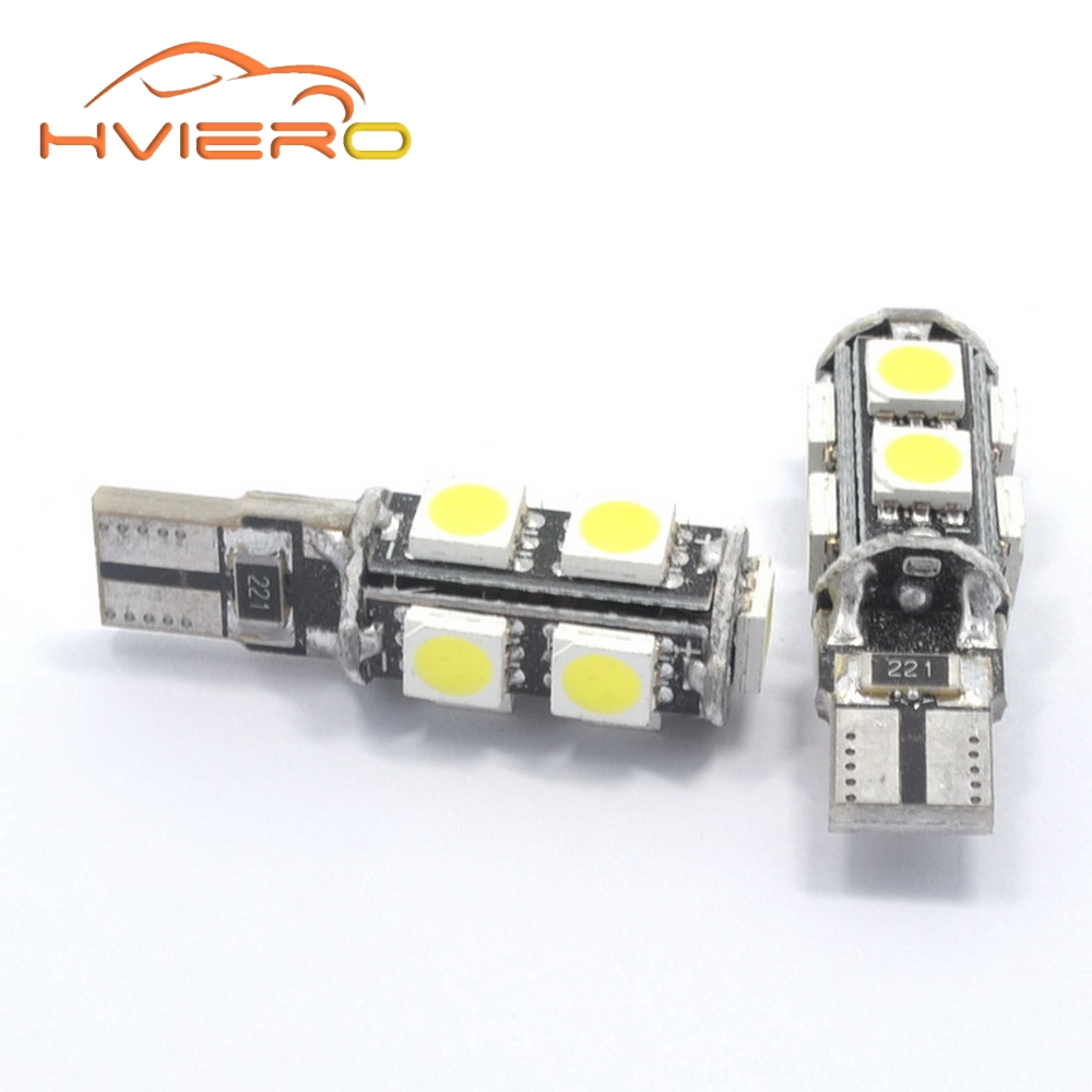 Hviero White T10 9smd 5050 Canbus DC 12V Error Free 194 168 192 W5W Car LED Tail Light Interior Bulbs Wedge Parking Dashboard Lamp