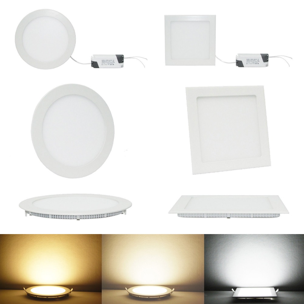 6W 9W 12W 15W LED Panel Light Square/Round Ceiling Downlight Lamp AC90-265V