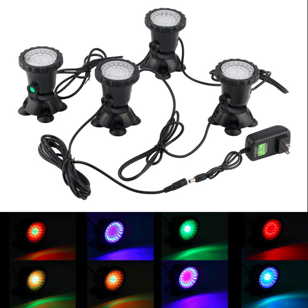 4pcs Waterproof Underwater Light 7 Color Changing Garden Fountain Fish Tank Swimming Pool Pond Aquarium LED Spotlight Lamp