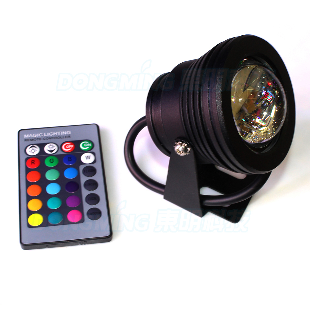 RGB LED Pool Lights Waterproof IP68 900-1000LM Black Case DC 12V 10W led Underwater lights  +24 Key IR Remote Controller