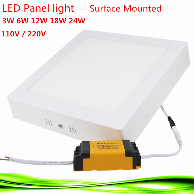 1X Led Panel Light 3W/6W/12W/18W/24W AC85-265V Square led bulb Surface Mounted led Downlight spot light lamp warm /white