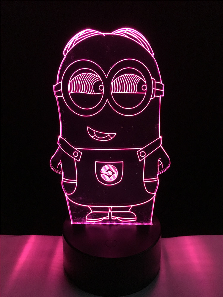 Novelty 3D Minions Night Light LED Table Lamp Touch Desk Lighting Colorful For Child Baby Gift Birthday Party Bedroom Home Deco