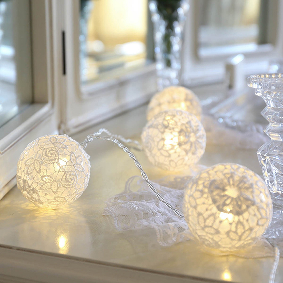 Romantic led string light with white lace ball hanging light, powered by AA battery,2/3/4 meter option for wedding decoration