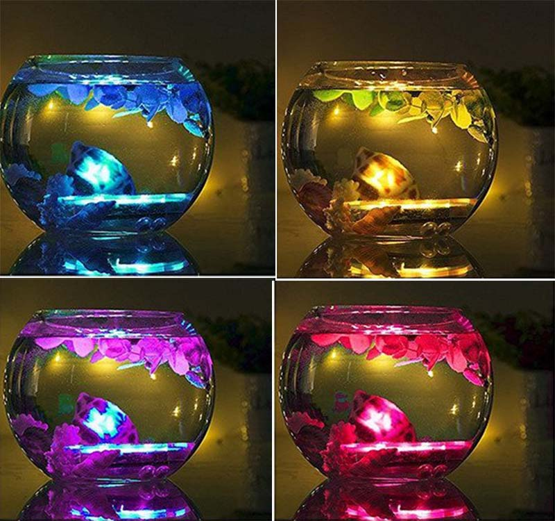 LED Submersible lights Floral Tea RGB LED Candle Flashing Waterproof Pond lighting Piscina Wedding Party Decoration Shisha Light